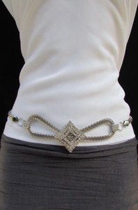 Other Women Fashion Metal Chain Silver Belt Big Square High Waist Hip 27-45