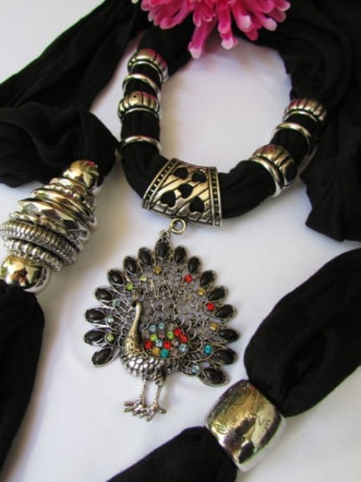 Other Soft Fabric Fashion Black Scarf Long Necklace Peacock Pendant Rhinestones