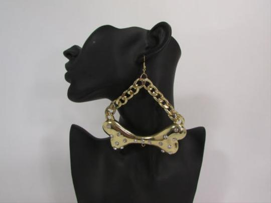 Other Women Fashion Earrings Set Gold Metal Chains Big Bone Hook Rhinestones Halloween