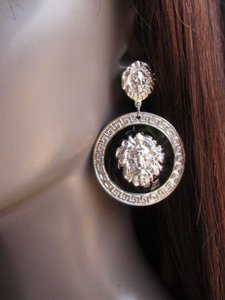 Other Women Round Silver Black Metal Lion Head Face Hook Fashion Earring Set Miami