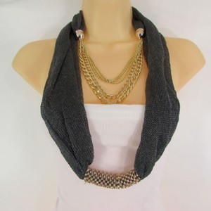 Other Women Gunmetal Fabric Gold Metal Chains Fashion Scarf Necklace Rhinestone