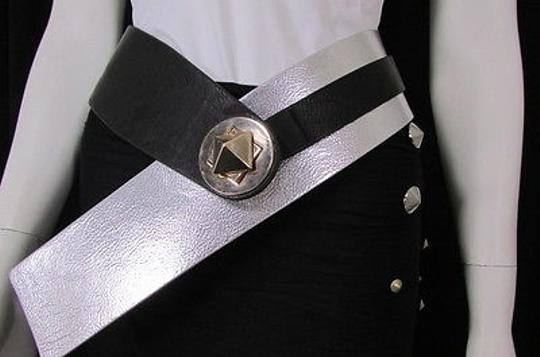 Other Women Black Silver Faux Leather Hip Waist Fashion Belt Square Buckle -