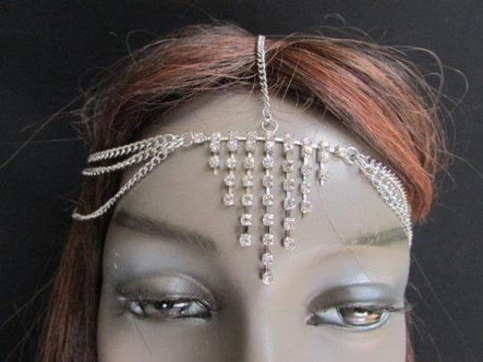 Other Women Trendy Metal Head Chains Fashion Jewelry Triangles Silver Multi Rhinestone