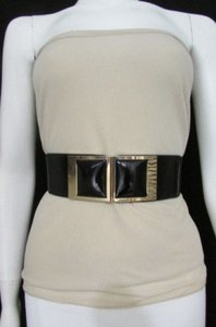 Women Elastic Waist Low Hip Fashion Belt Big Squares 27-37 Black Brown