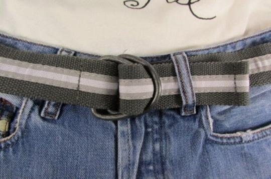 Other Pants Gray Green Fabric Fashion Belt Pewter Metal Buckle One 30-38