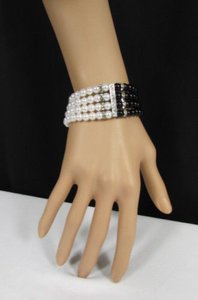 Other Women Elastic Bracelet Fashion Jewelry Black Cream Imitation Pearl Beads