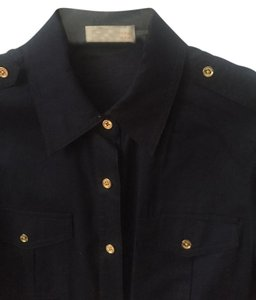Tory Burch Silk Button Down Shirt navy blue
