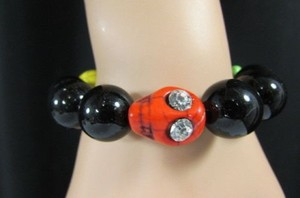 Women Elastic Fashion Skulls Bracelet Black Beads Yellow Orange Red Green