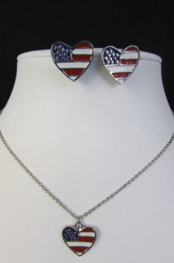 Other Women Silver Metal Heart Usa American Flag Pendant Fashion Necklace Earring