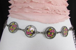 Women Pewter Metal Fashion Belt Pink Yellow Flowers Hip Waist 25-40