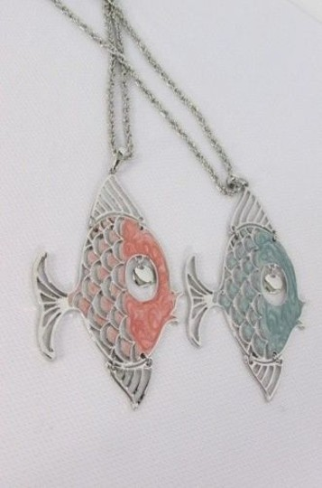 Other Women Long Necklace Silver Metal Chain Pisces Fashion Big Fish Blue Pink
