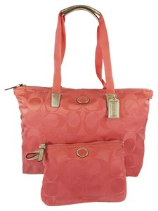 Coach Weekender Nylon Signature Coral Travel Bag