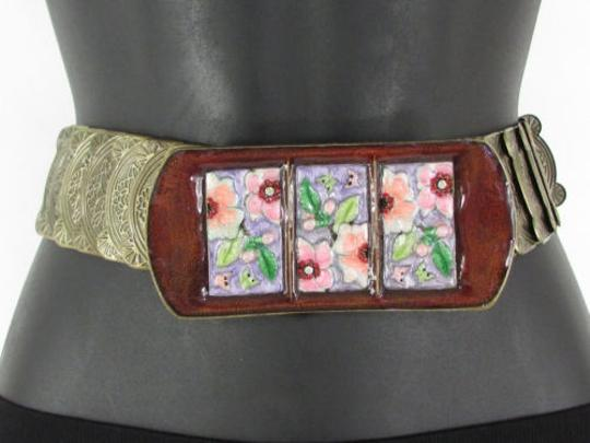 Other Women Hip Waist Gold Elastic Metal Fashion Belt Flowers Buckle 27-36