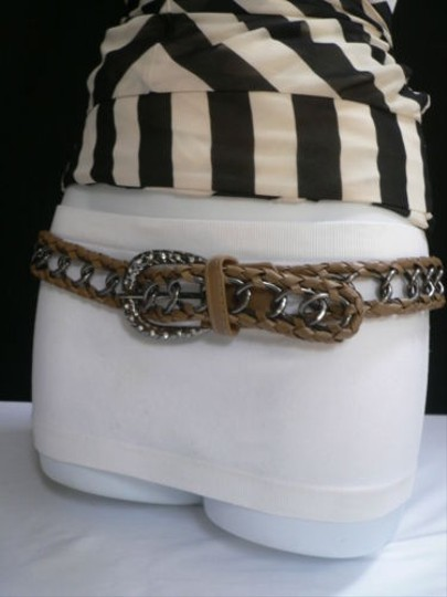 Other Women Brown Faux Leather Pewter Metal Chains Fashion Belt 30-40 M-xl