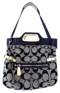 Coach Signature Bonnie Fold Over Tote in Black