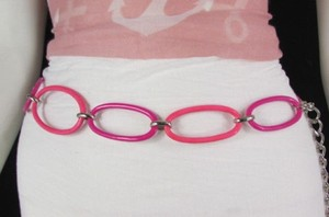 Other Women Black White Pink Metal Chains Fashion Belt 30-40