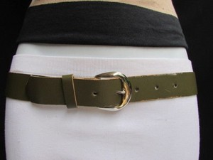 Women Army Green Faux Leather Fashion Belt Silver Metal Buckle 28-33
