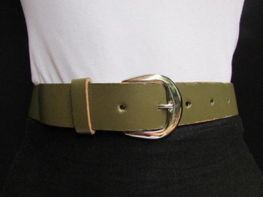 Other Women Army Green Faux Leather Fashion Belt Silver Metal Buckle 28-33