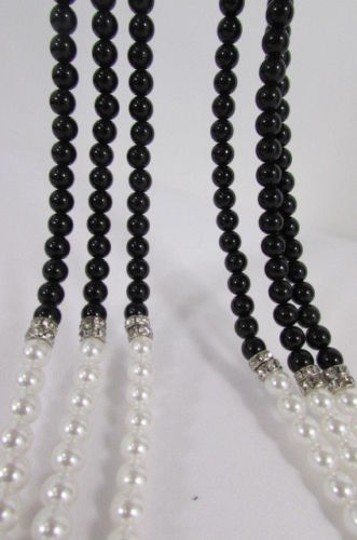Other Women Strands Fashion Necklace Cream Imitation Pearl Black Beads 32 Long