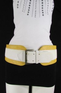 Other Women White Yellow Western Faux Leather Elastic Wide Fashion Belt 27-36