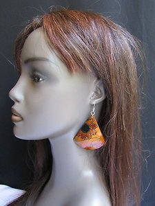 Women Fashion Earrings Brown Coconut Hand Painted Flowers Hawaiian Design