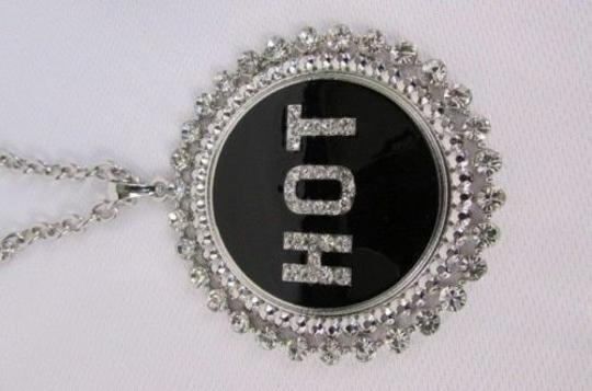Other Women Silver Metal Chains Fashion Necklace Big Black Hot Pendant Rhinestone