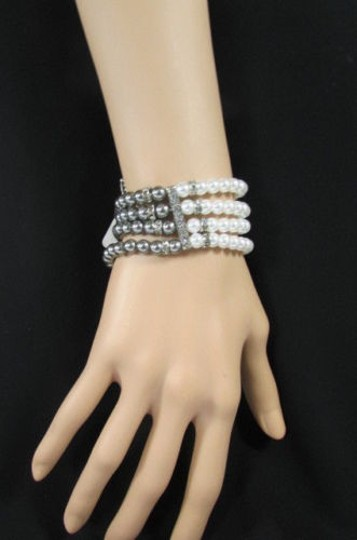 Other Women Elastic Bracelet Fashion Jewelry Pewter Cream Imitation Pearl Beads