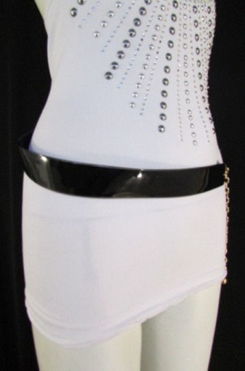 Other Women Black Faux Leather Fashion Belt Gold Chains Hip High Waist 28-38
