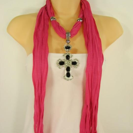 Other Women Scarf Pink Fabric Fashion Long Necklace Silver Metal Pendant Cross Charm