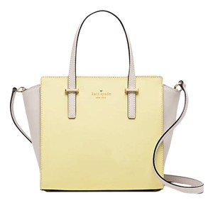 Kate Spade Leather Tan Hayden Yellow Satchel in Crisp Linen/Lemonade