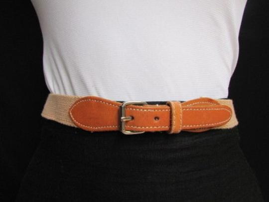 Other Women Beige Fabric Thin Fashion Belt Silver Buckle Faux Leather 25-27
