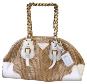 Prada Satchel in Natural and white
