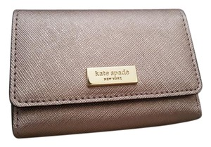 Kate Spade NEW Kate Spade logo Metallic rosegold business card holder case