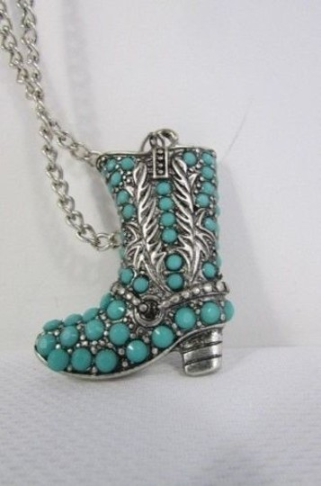 Other Women 16 Turquoise Beads Chains Necklace Western Metal Boot Pendant Earring