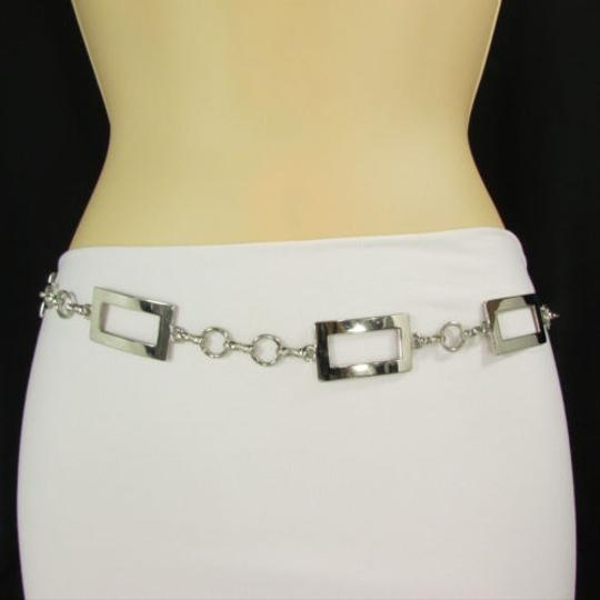 Other Women Hip High Waist Silver Metal Chain Narrow Fashion Belt Squares 27-35