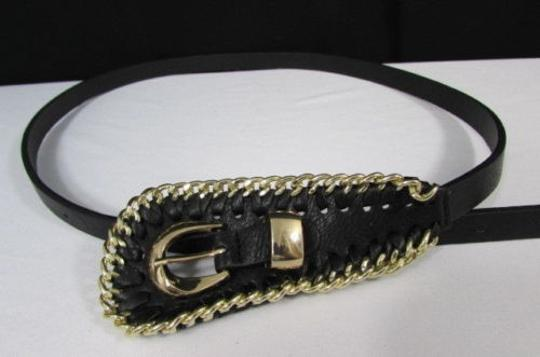 Other Women Black Thin Hip Waist Faux Leather Fashion Belt Gold Chains 28-36
