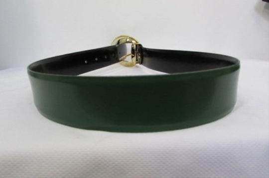 Other Women Belt Reversible Black Green Sides Faux Leather Fashion Gold Buckle