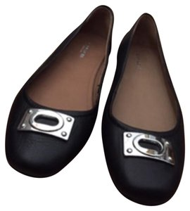 Coach Leather Rubber Sole Pebbled Black Flats