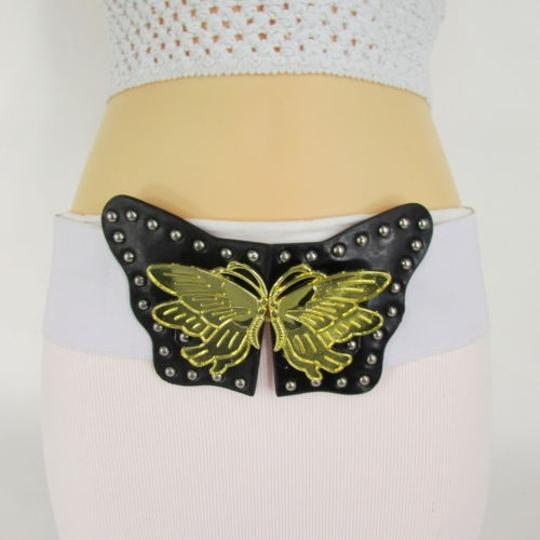 Other Women Black White Elastic Fashion Belt Big Gold Butterfly Buckle Sm 29-35