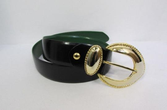 Other Women Black Green Sides Faux Leather Fashion Belt Gold Buckle 31-35
