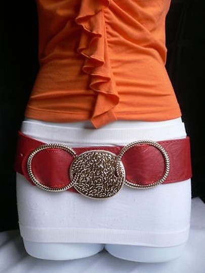 Other Women Elastic Gold Round Buckle Waist Hip Red Faux Leather Belt