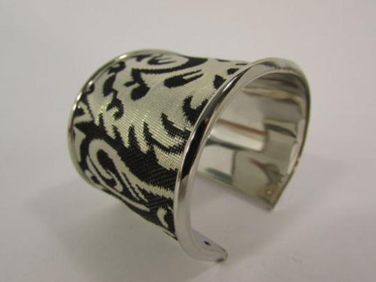 Other Women 2 Long Silver Metal Cuff Bracelet Fashion Jewelry Gold Leaves Detail