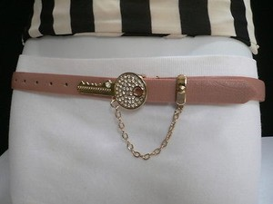 Other Women Hip Waist L. Pink Thin Fashion Belt Metal Gold Key Buckle 33-39 Ml