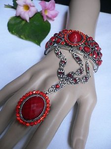 Other Women Fashion Bracelet Silver Cuff Slave Bead Red Flower Rhinestones
