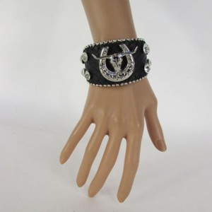 Other Women Silver Bull Horse Shoe Fashion Black Faux Leather Bracelet Rhinestones