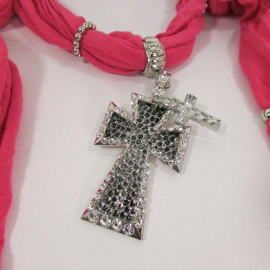 Other Women Scarf Pink Fabric Fashion Long Necklace Multi Silver Pendant Cross Charm