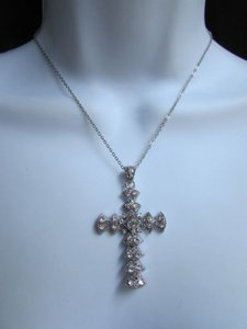 Women Silver Metal Thin Necklace Cross Fashion Trendy Pendant Rhinestones