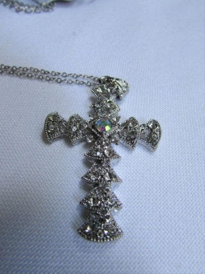 Other Women Silver Metal Thin Necklace Cross Fashion Trendy Pendant Rhinestones