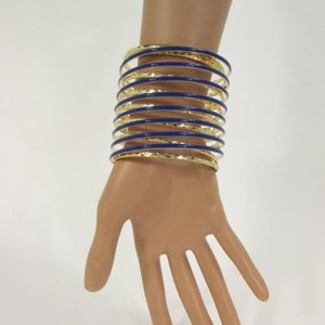 Other Women Long Blue Gold Metal Elastic String Bracelet Fashion Jewelry Wide Bangle