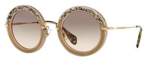 Miu Miu MIU MIU Round Sunglasses MU 08RS UE23D0 Hand Set Crystals FREE 2 DAY SHIPPING